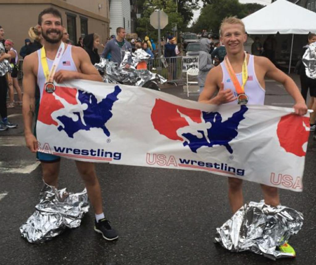 Austin Morrow and Dalton Roberts at the 2017 Marquette Marathon
