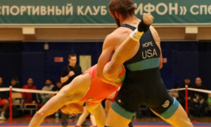 Corey Hope lifting an opponent at the Lavrikov Memorial