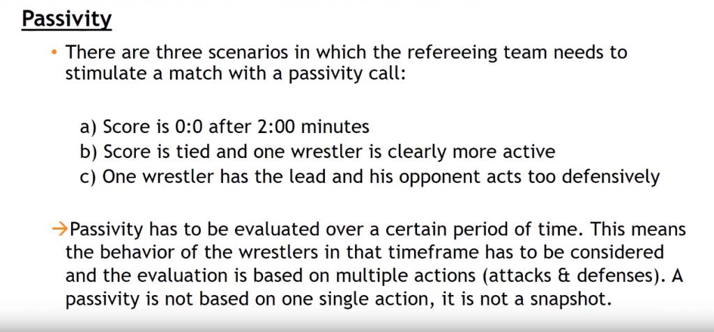 Screenshot of UWW Greco-Roman passivity rules for 2018