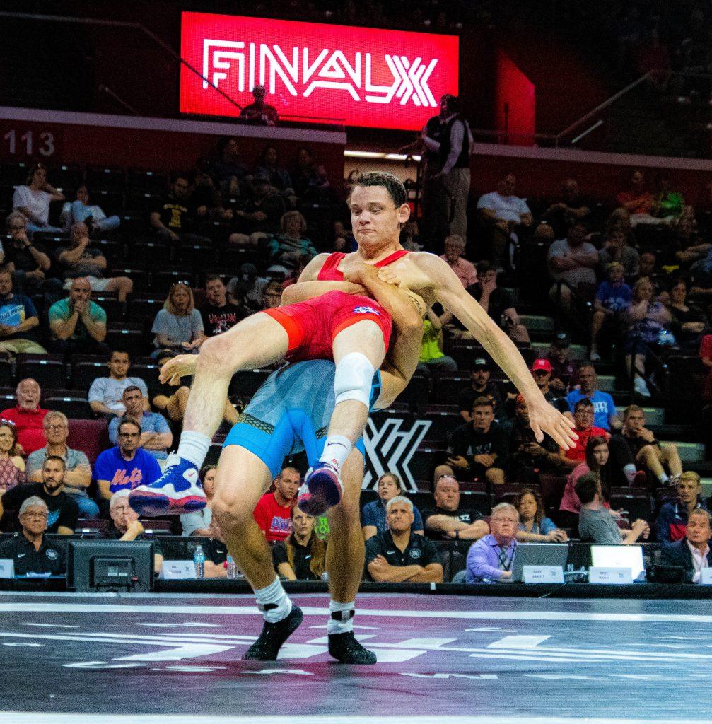 Max Nowry throws Brady Koontz